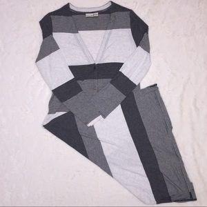 Chicos Zenergy Long TShirt Button Cardigan Stripe